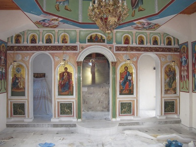 Decoration of of plaster iconostasis St. Trias Messinia